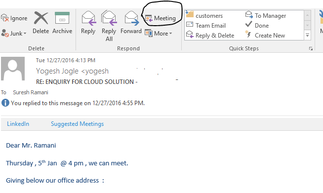 Meeting icon on MS Outlook